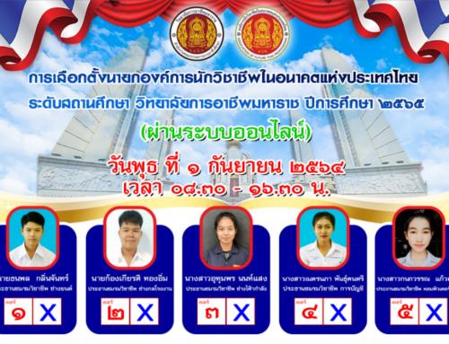 การเลือกตั้งนายกองค์การนักวิชาชีพในอนาคตแห่งประเทศไทย  ระดับสถานศึกษา วิทยาลัยการอาชีพมหาราช ปีการศึกษา ๒๕๖๕